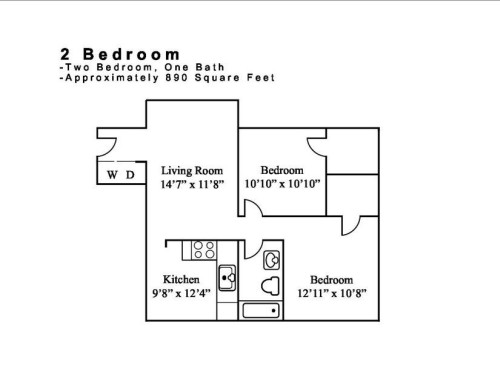 890 sq. ft. 2.1 floor plan