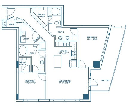 1,285 sq. ft. B2 floor plan