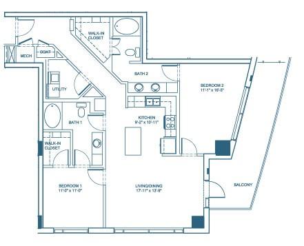 1,285 sq. ft. B2 floor plan