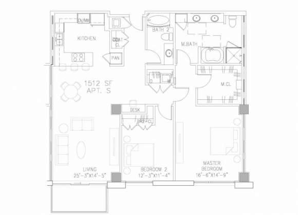1,512 sq. ft. B3 floor plan
