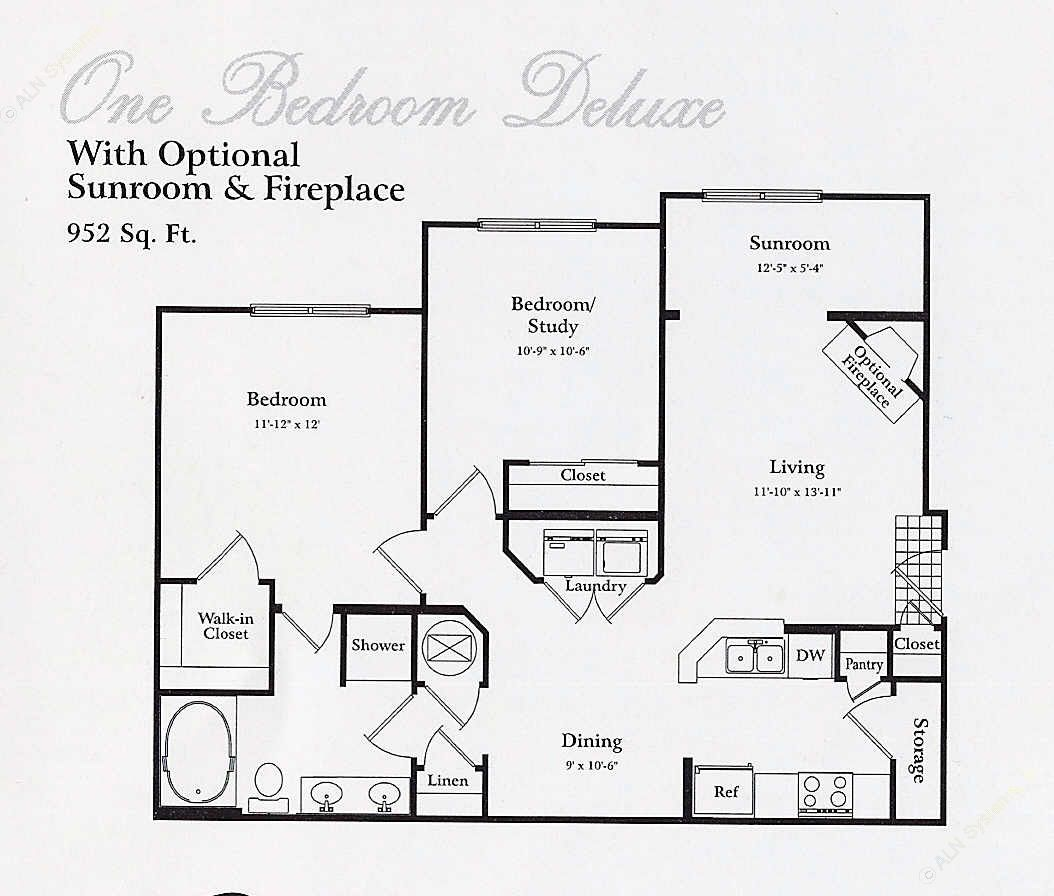 710 sq. ft. A1 SUN floor plan