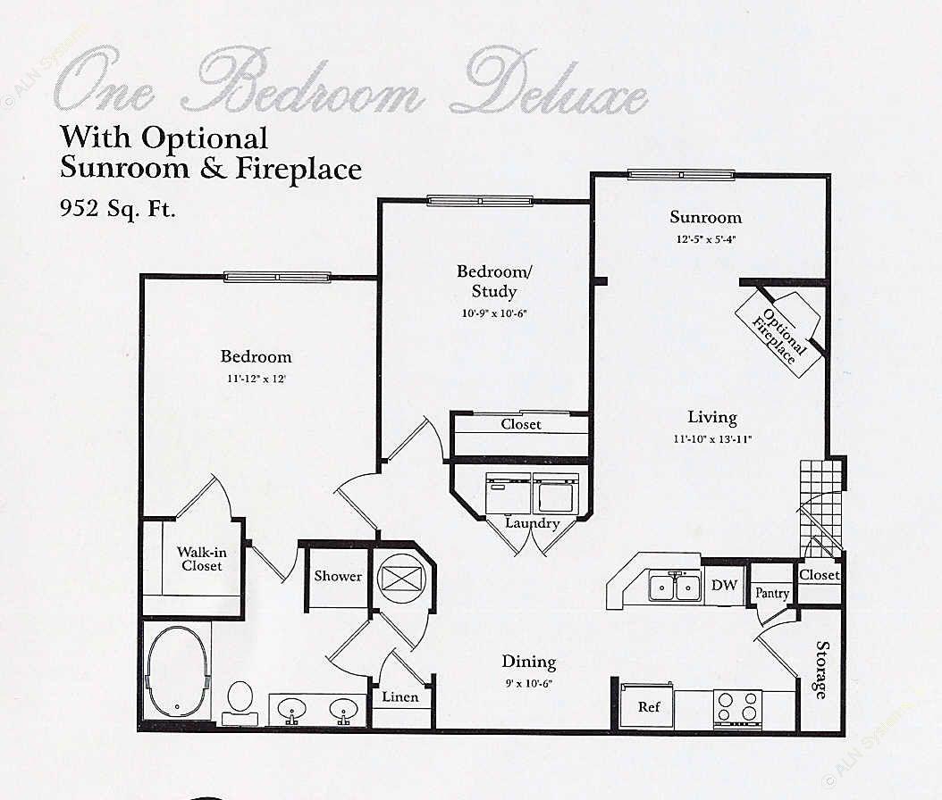 710 sq. ft. A1 SUN floor plan