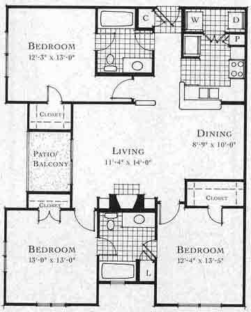 1,207 sq. ft. C1 floor plan