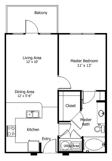 672 sq. ft. to 895 sq. ft. 5a4 floor plan