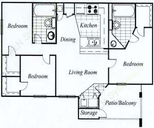 1,250 sq. ft. Hickory/60 floor plan