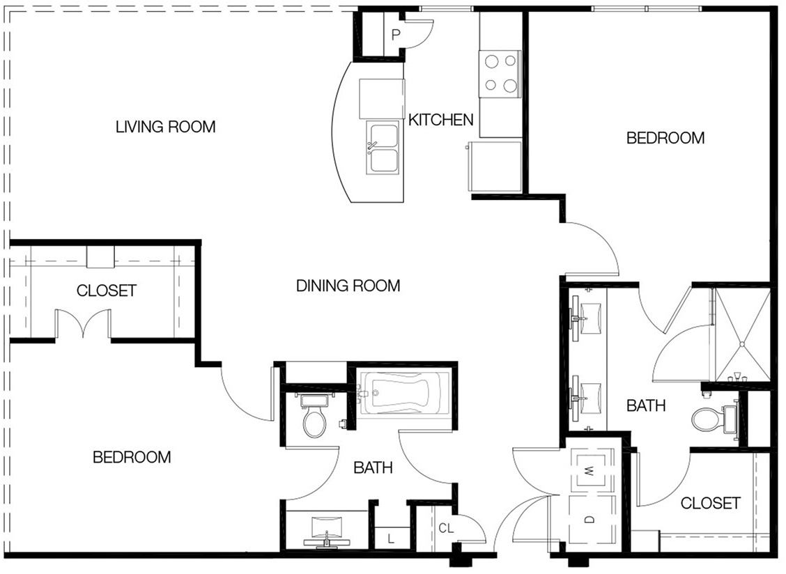 1,199 sq. ft. to 1,266 sq. ft. B2 floor plan