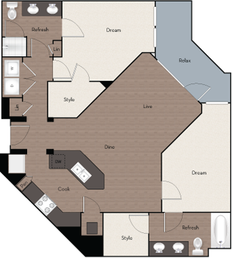 1,189 sq. ft. B4 HC floor plan