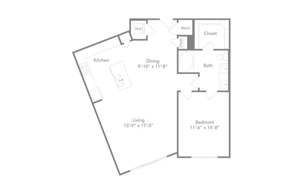 986 sq. ft. A3A floor plan