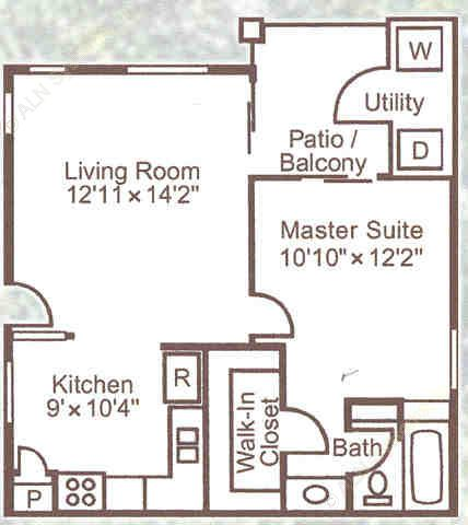 590 sq. ft. A1 floor plan