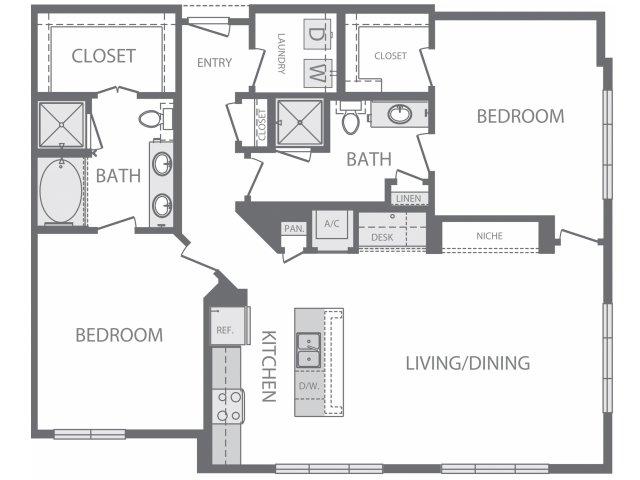1,350 sq. ft. P floor plan