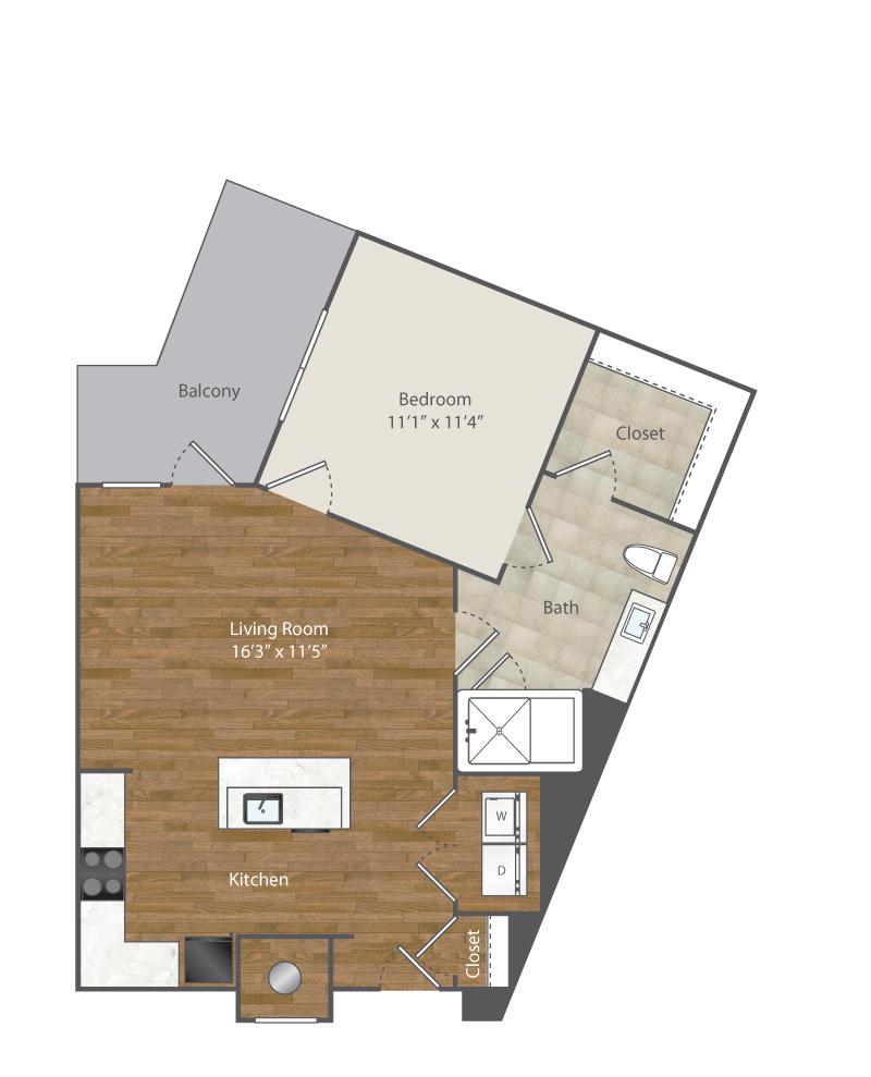 695 sq. ft. A2 floor plan