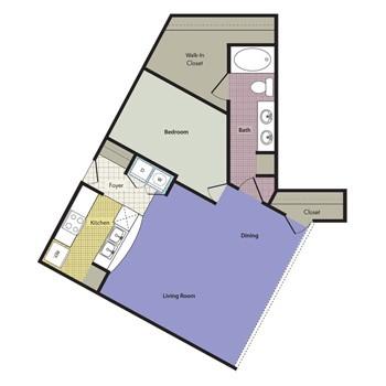 999 sq. ft. Barcellona floor plan