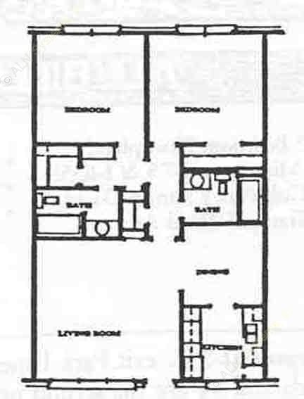 1,000 sq. ft. B-2 floor plan