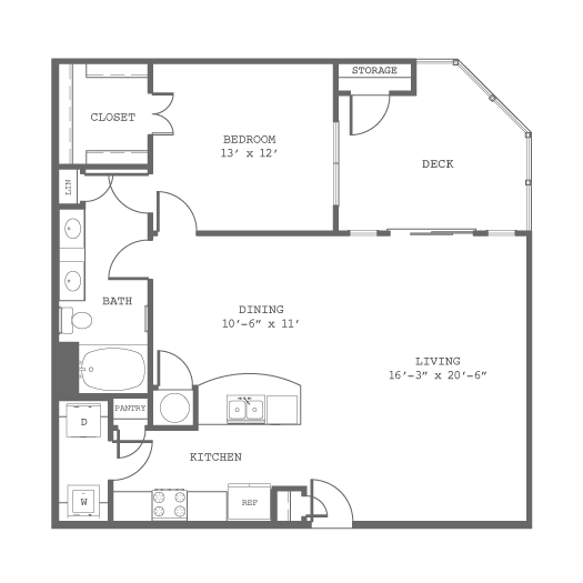 977 sq. ft. A8 floor plan