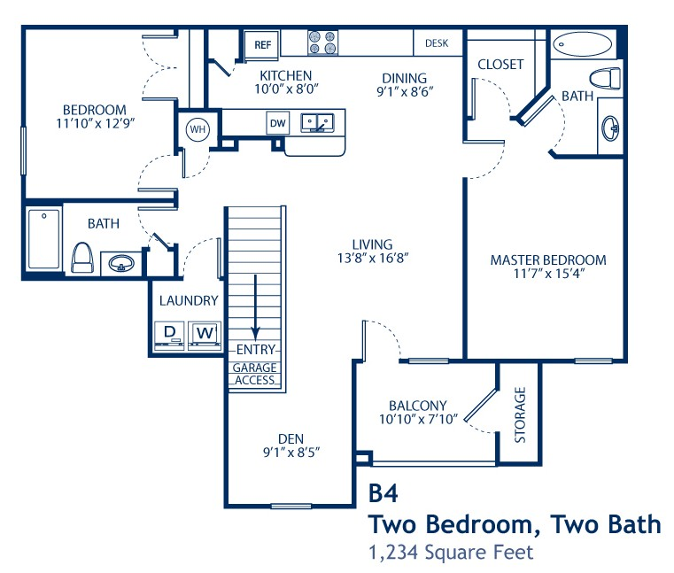 1,234 sq. ft. B4-GAR floor plan