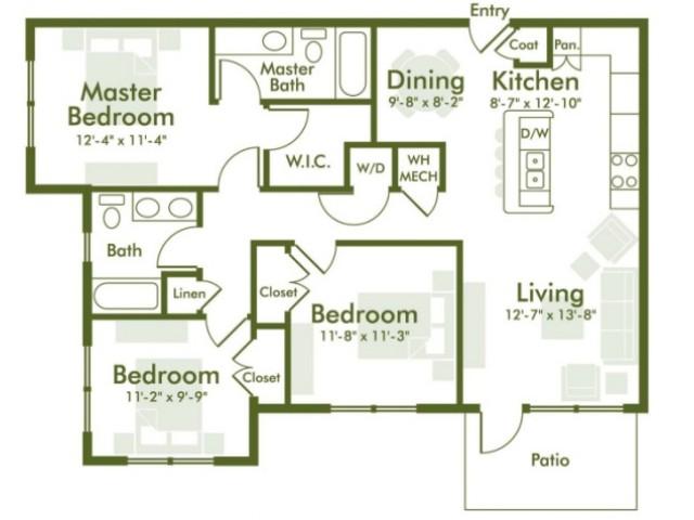 1,283 sq. ft. floor plan