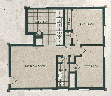 698 sq. ft. B1-220/60% floor plan
