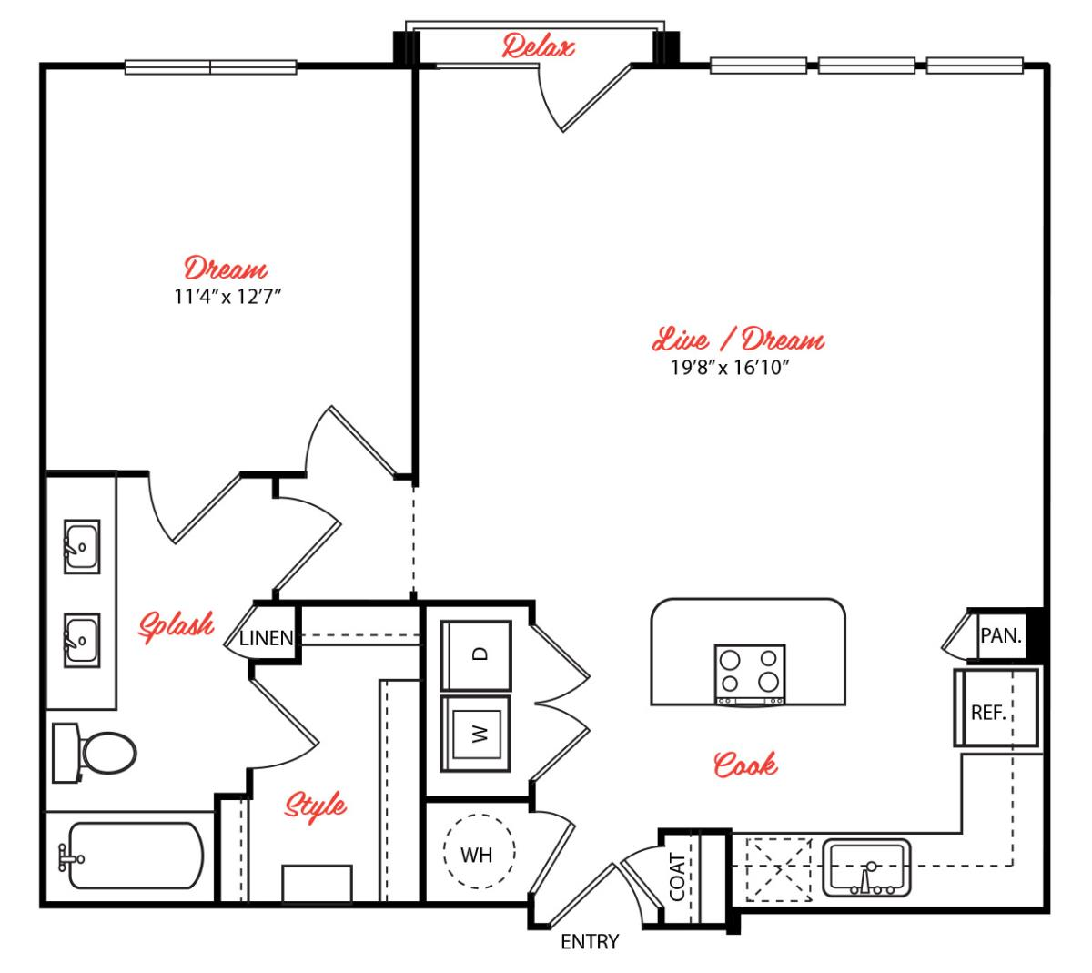 876 sq. ft. A4.1 floor plan