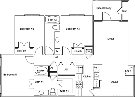 1,228 sq. ft. C1 floor plan