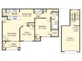 925 sq. ft. Merida floor plan