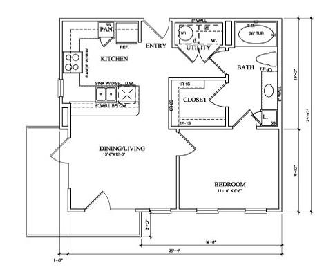 608 sq. ft. A1C floor plan