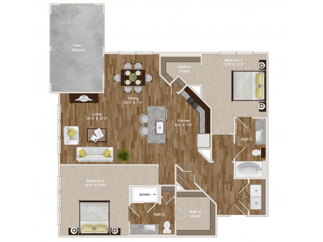 1,260 sq. ft. B4 floor plan