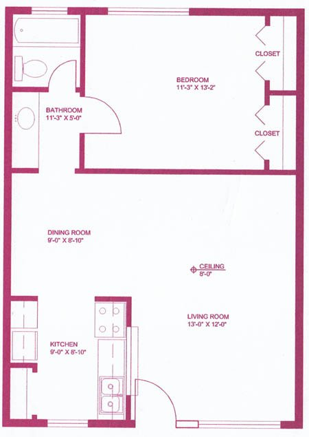 948 sq. ft. B3 floor plan