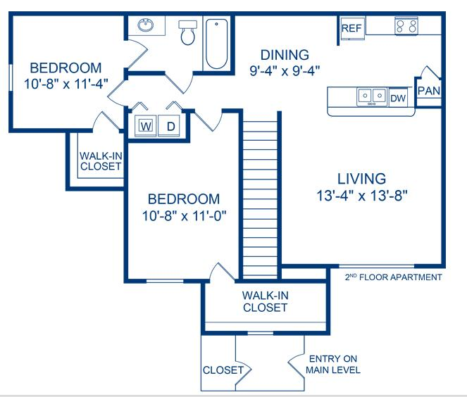 935 sq. ft. Neuces floor plan