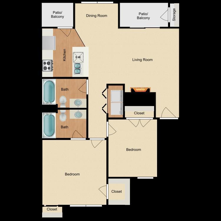 976 sq. ft. B4 floor plan