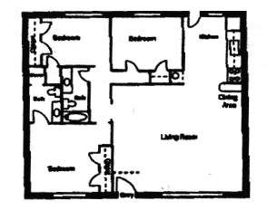 1,200 sq. ft. DUPLEX floor plan