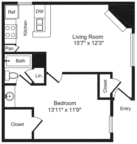 583 sq. ft. A floor plan