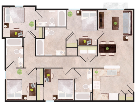 1,281 sq. ft. to 1,328 sq. ft. Boulder floor plan