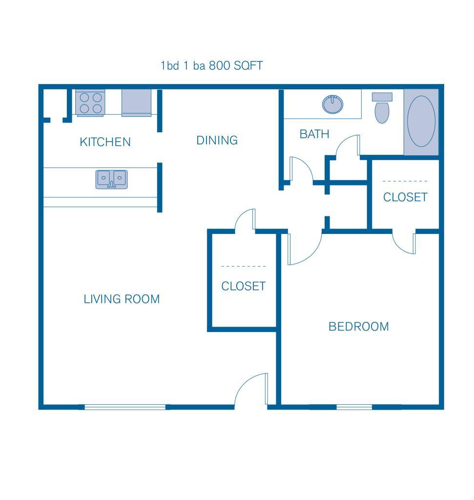 800 sq. ft. A3 floor plan