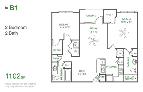 1,103 sq. ft. B1 floor plan