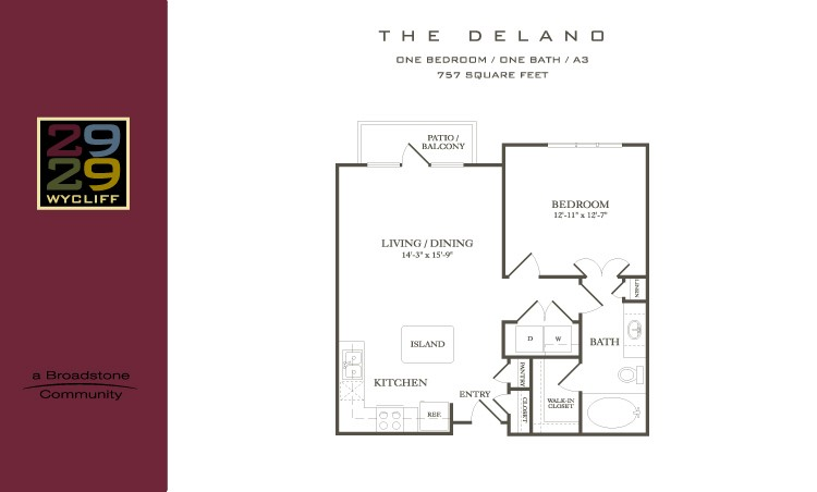 757 sq. ft. Delano floor plan