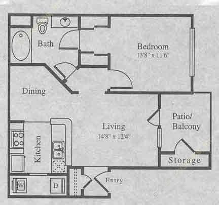 720 sq. ft. A-1 floor plan