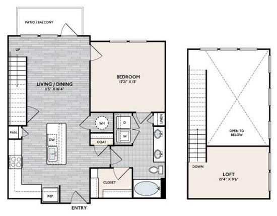 1,045 sq. ft. A3 MEZ floor plan