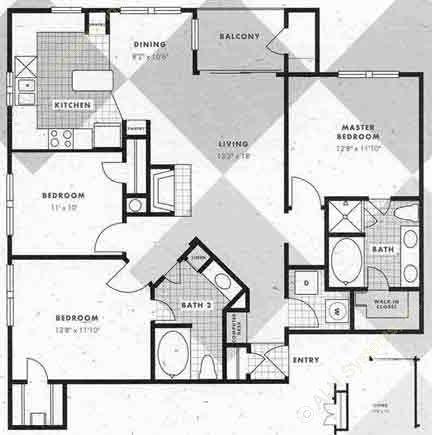 1,302 sq. ft. C1-C1G floor plan