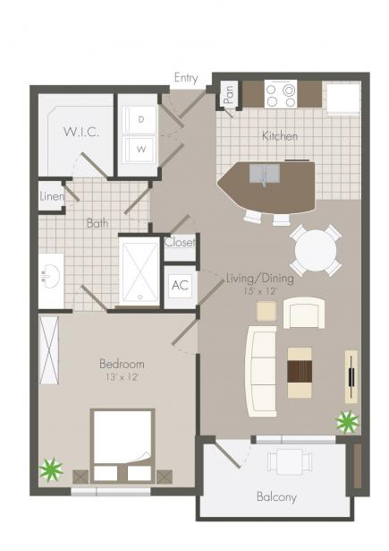 723 sq. ft. Clyde floor plan