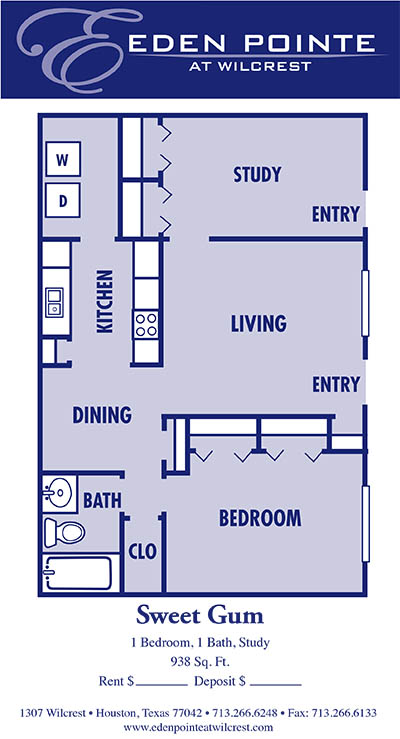 938 sq. ft. A4-Sweetgum floor plan