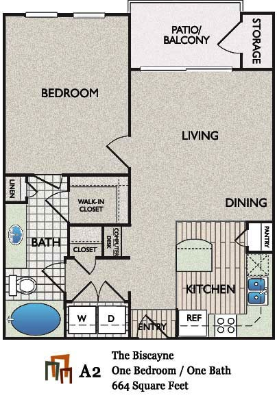 664 sq. ft. Biscayne floor plan