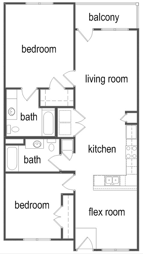 1,100 sq. ft. B1/60% floor plan
