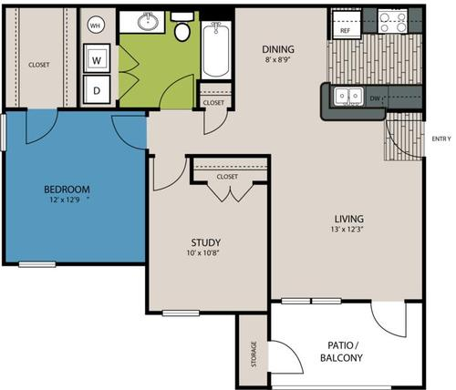 898 sq. ft. B1 floor plan