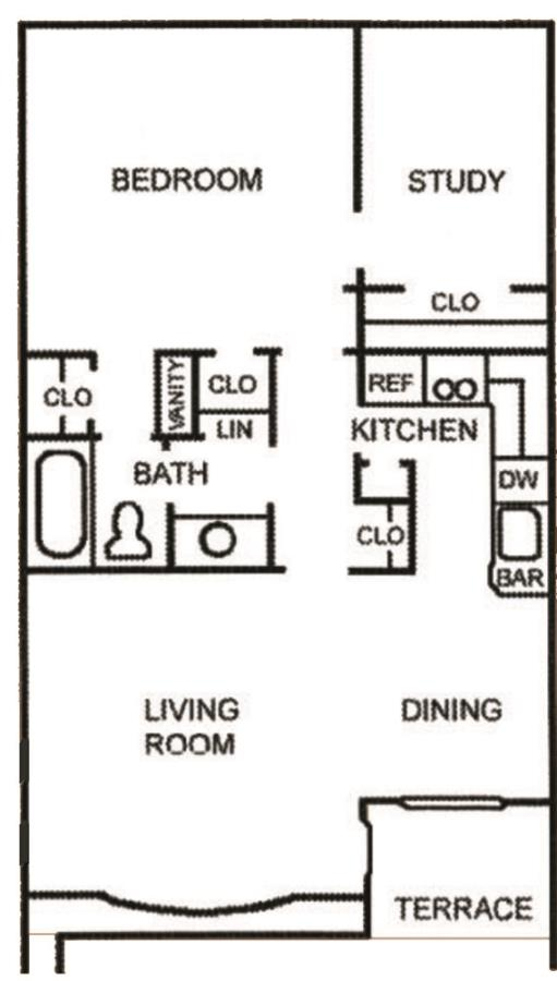 696 sq. ft. A-6 floor plan