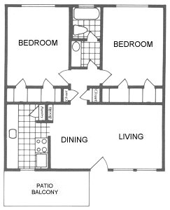928 sq. ft. Grapevine floor plan