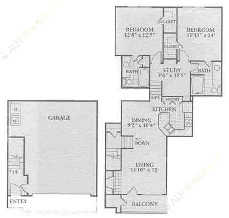1,183 sq. ft. B2 floor plan