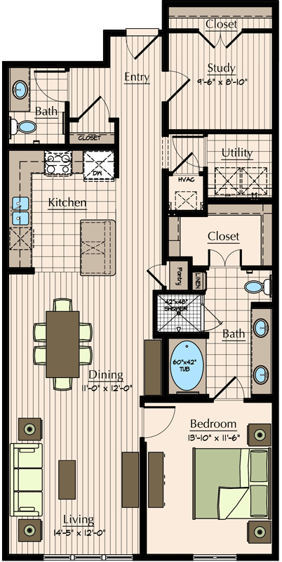 1,178 sq. ft. floor plan