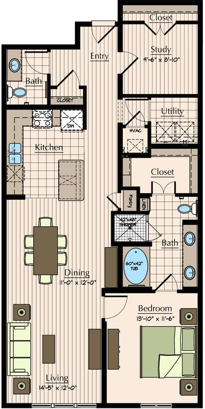 1,178 sq. ft. A5.7 floor plan