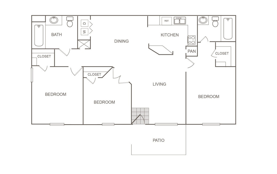 1,060 sq. ft. 50% floor plan