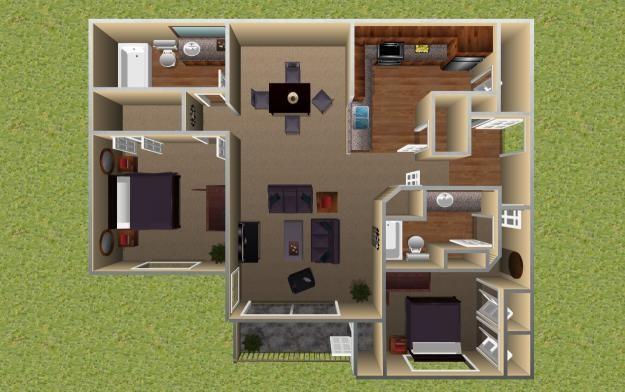 1,067 sq. ft. Cottonwood floor plan